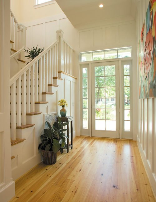 Bright Entryway with Board and Batten Siding