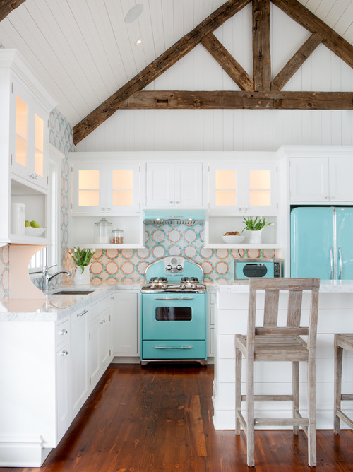 Collection of beautiful kitchens. This one has retro style with aqua appliances.