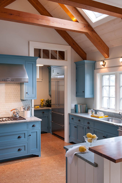 Blue Kitchen Cabinets in Farmhouse Kitchen