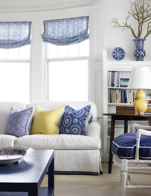 Beach Style Living Room in Blue and White