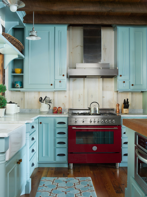 Blue Farmhouse Kitchen with Red Stove