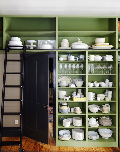 Open Kitchen Shelving with White Ironstone