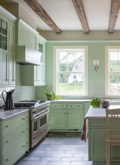 Farmhouse Kitchen with Pale Green Cabinets