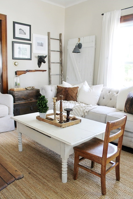Farmhouse Living Room with Tufted Furniture