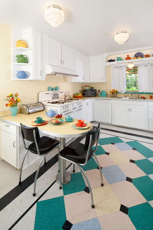 Fun, retro kitchen with mid-century style. See all 10 beautiful kitchens
