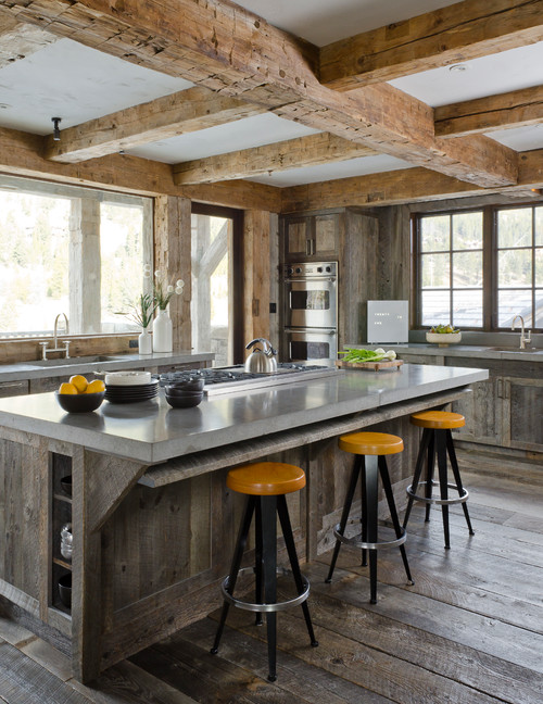 A collection of beautiful kitchens. This rustic one is still light and bright with all the windows.