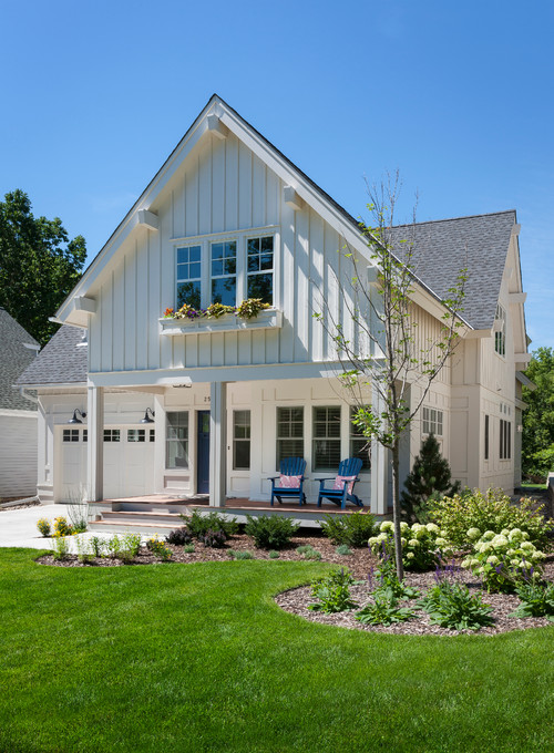 White Farmhouse with Board-and-Batten Siding