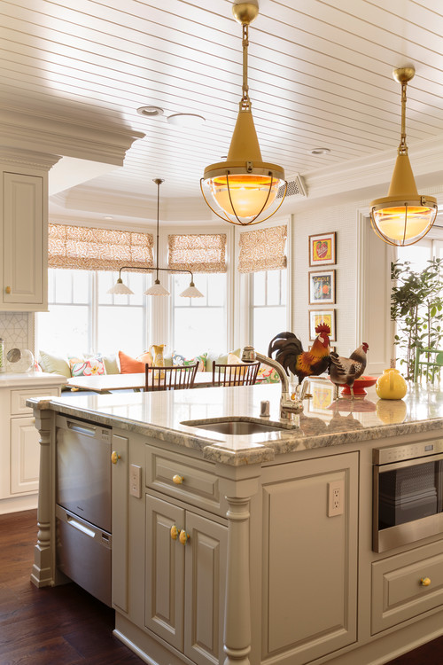 Colorful Cottage Kitchen with Yellow Pendant Lights over Kitchen Island
