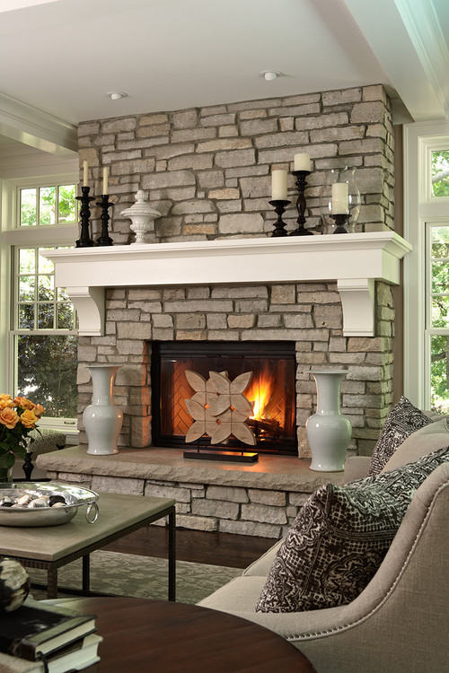 Stone Fireplace in Traditional Living Rooms