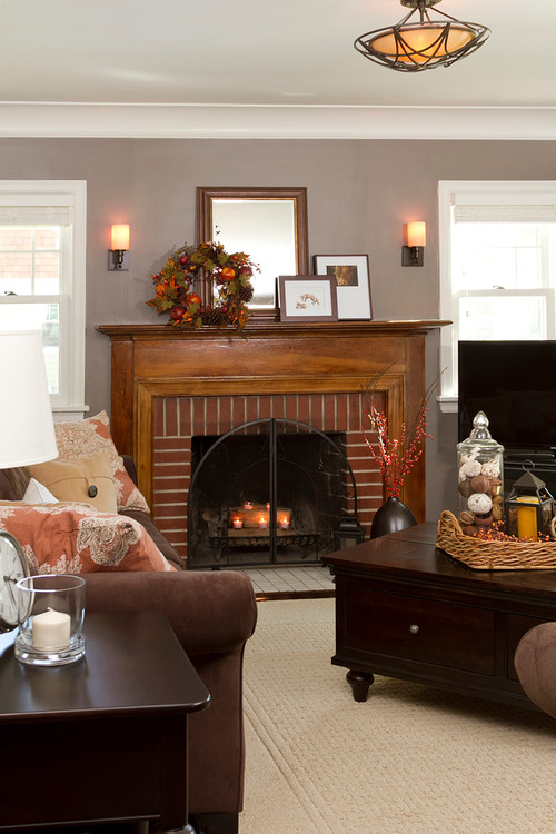Votive Candles in Fireplace