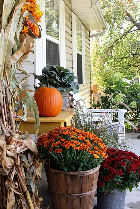 Pretty Fall Porch by House of Hawthornes