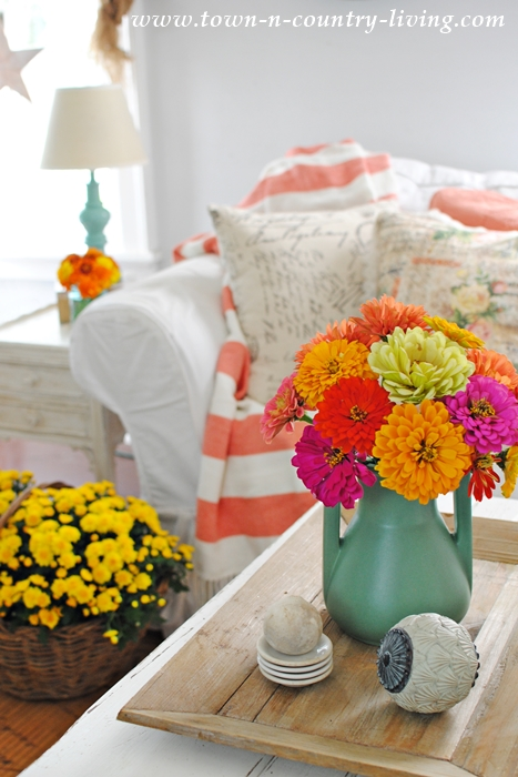 Color in the Family Room with Fresh Flowers