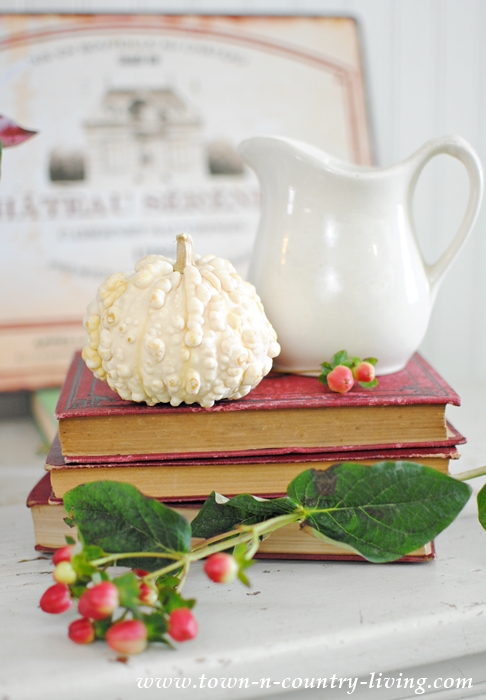 Simple Fall Vignette in Red and White