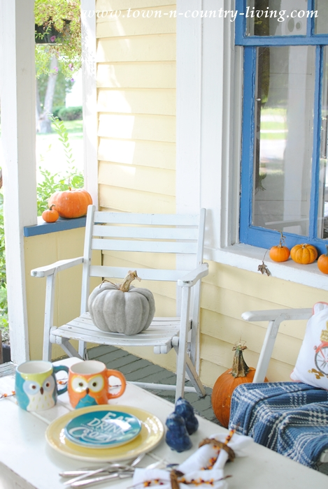 Farmhouse Porch Decorated for Fall