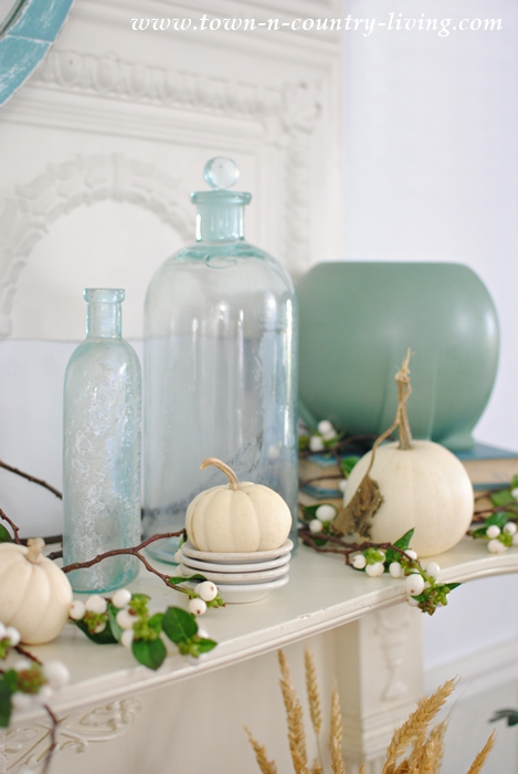 Fall Mantel in White and Blue-Green