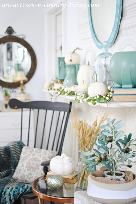 Non-Traditional Fall Mantel in White and Blue-Green