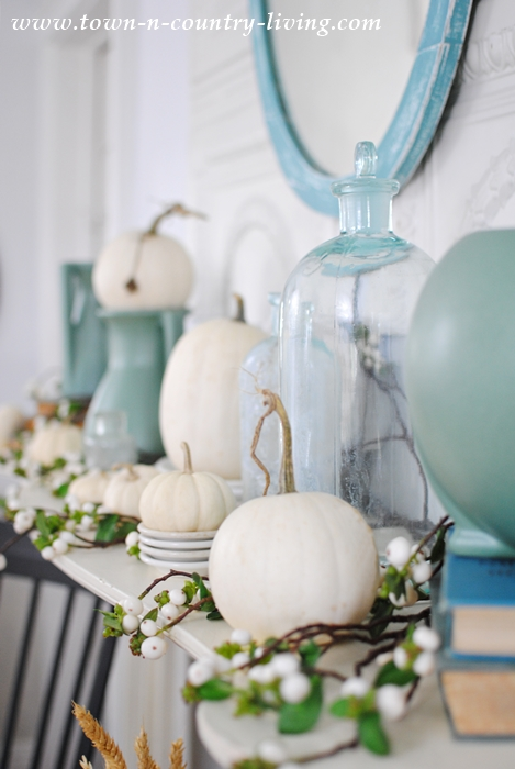 White Pumpkins and Berries with Teco Art Pottery