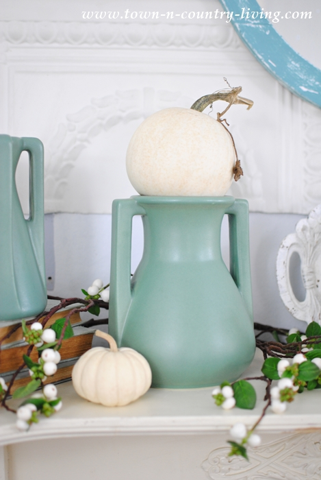 Teco Art Pottery with Mini White Pumpkins