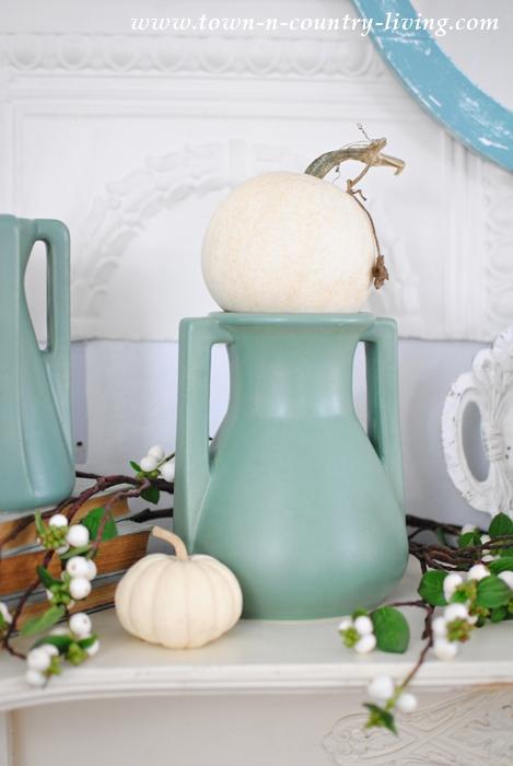 Teco Art Pottery with Mini White Pumpkins