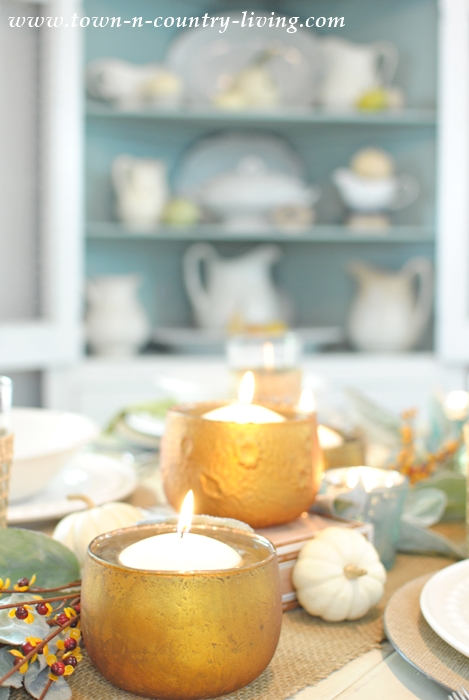 Fall Table Setting with Votive Candles and Silvery Leaves