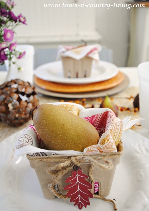 Fall Table Setting Created with Free Fall Leaf Printable