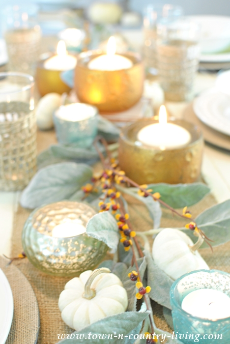 Fall Table Setting with Floating Candles and Votives