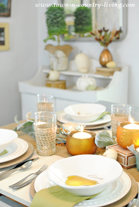 Fall Table Setting with Candles and Natural Elements
