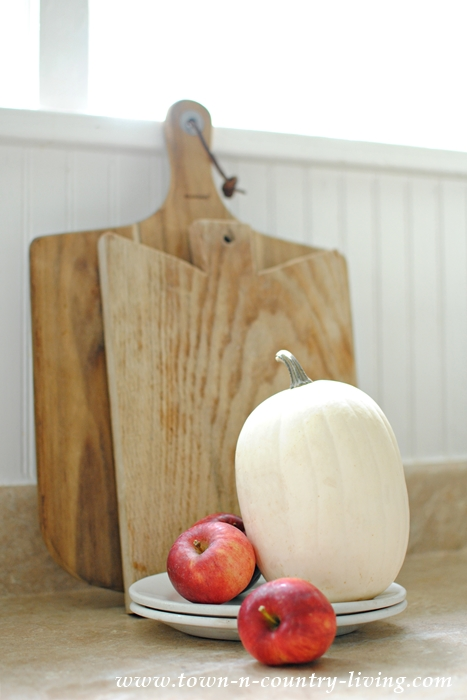 Fall Vignette with White Pumpkin and Red Apples