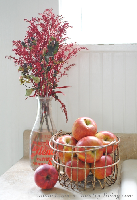 Fall Vignette with Red Apples