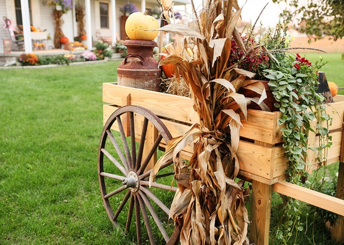 Rustic Country Wagon Decorated for Fall
