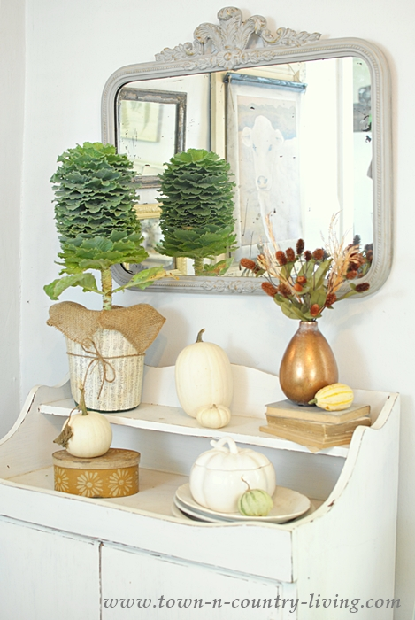 Farmhouse Dry Sink Decorated for Fall