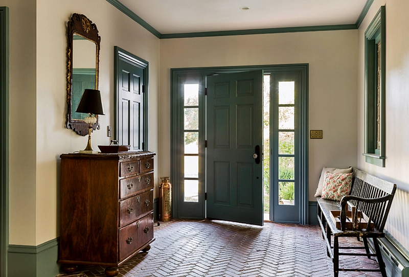 Colonial Farmhouse Entry with Brick Floor