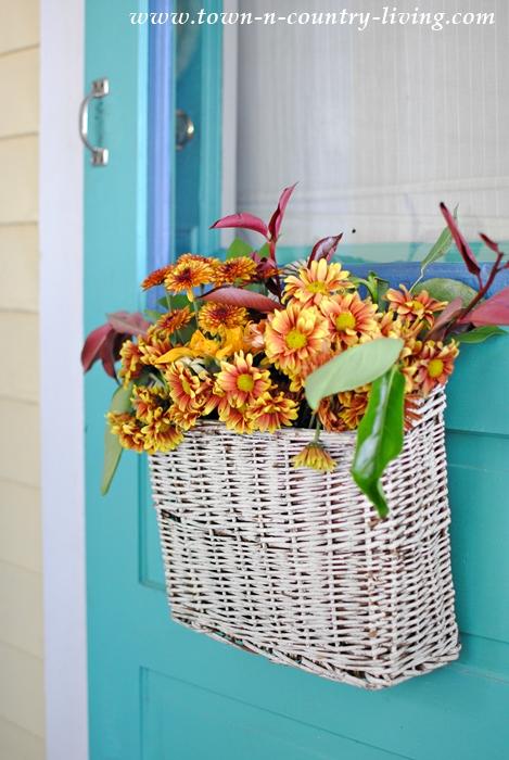 Basket of Fall Flowers in Lieu of a Front Door Wreath