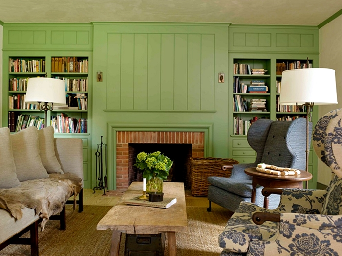 Farmhouse Living Room with Early American Style
