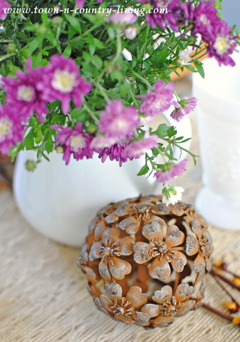 Bouquet of Asters and Metal Flower Ball