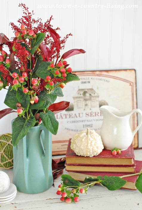 Prairie Vase with Red Flower Arrangement