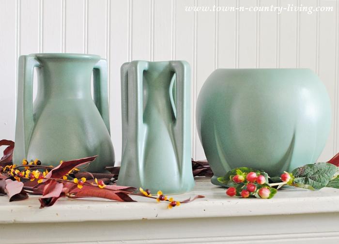 Trio of Teco Art Pottery Vases
