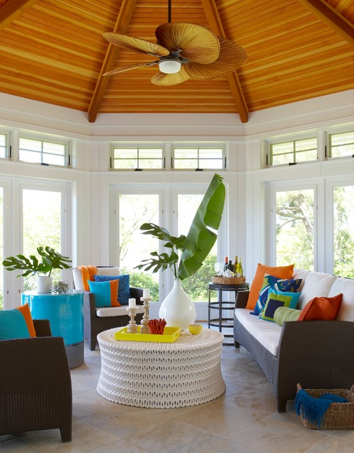 Vibrant Color in Oceanfront House Sun Room