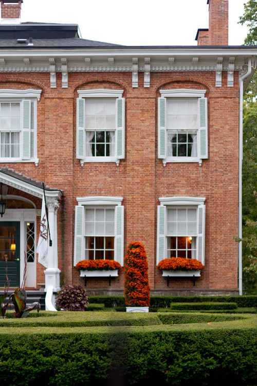 Brick Home Decorated for Fall