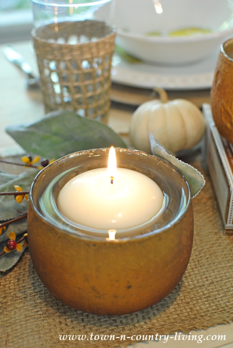 Turn any water-tight bowl into a candle holder by floating a small candle inside.