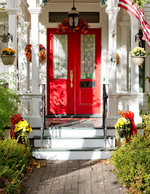 Fall Front Porch with Pretty Red Door