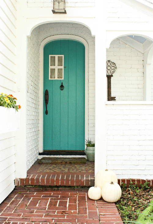 Simple Fall Porch with Turquoise Front Door and White Pumpkins