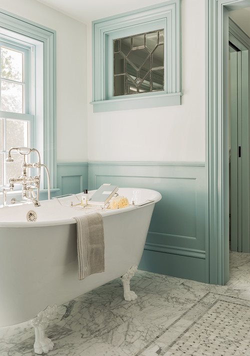 Claw Foot Tub in Colonial Farmhouse Bathroom