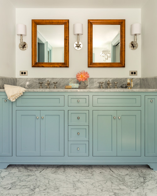 Traditional Bathroom with Blue Custom Cabinetry