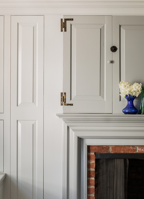 Details on Colonial Farmhouse Fireplace and Cabinetry