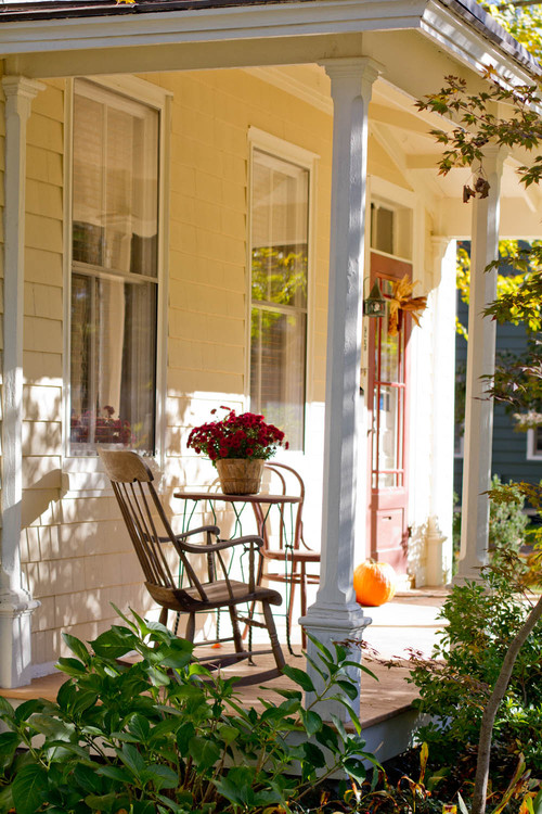 Farmhouse Front Porch Decorated for Fall