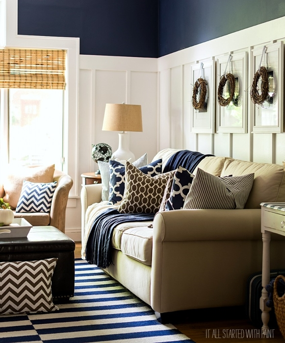 Navy and White Fall Living Room