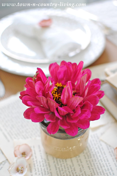 Gold-Dipped Vase with Deep Pink Zinnia