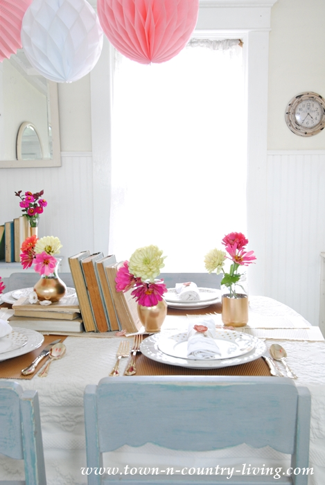 Book Lover's Table Setting in Farmhouse Kitchen