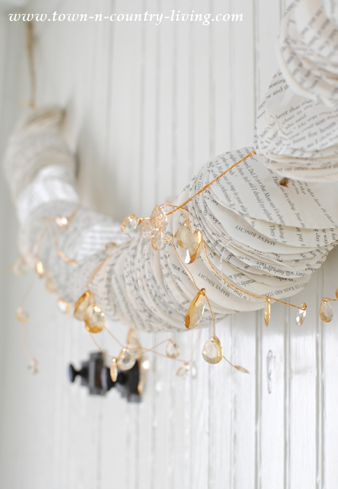 Book Page Garland with Crystals